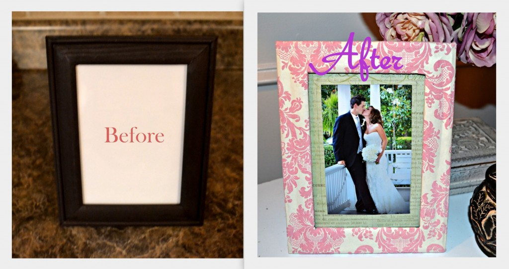 Before and After 1024x542 Mod Podge Picture Frame