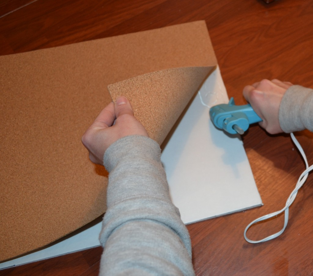 Use a hot glue gun to glue the cork onto the foam1 1024x901 DIY Framed Cork Board