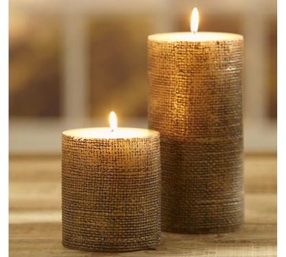 Pottery Barn Gold Burlap Candles DIY Pottery Barn Burlap Candle