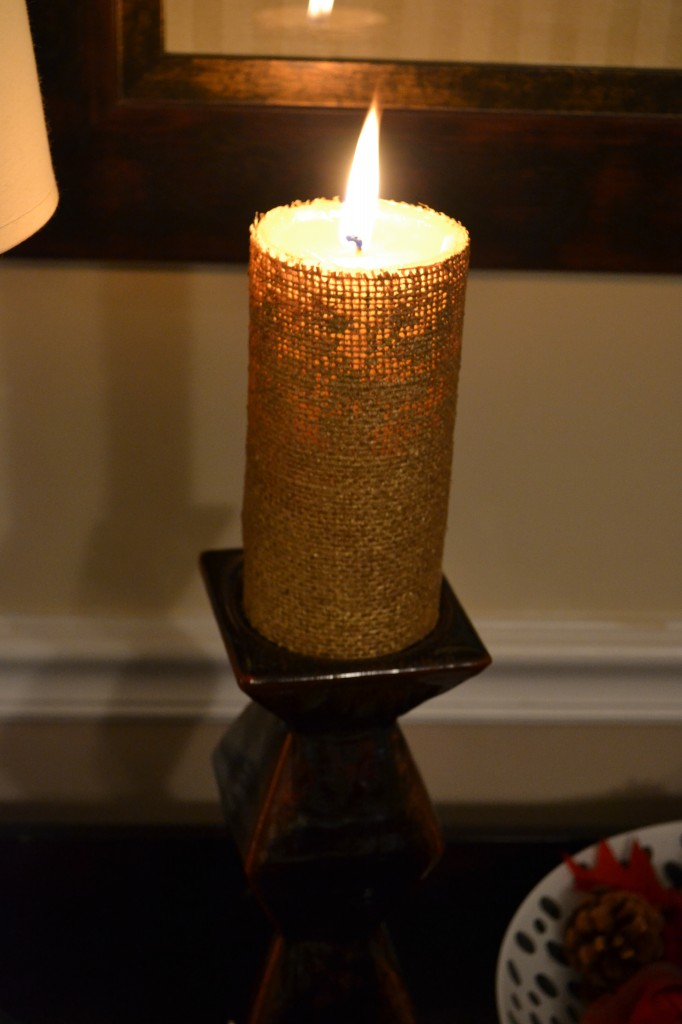 burlap candle 682x1024 DIY Pottery Barn Burlap Candle