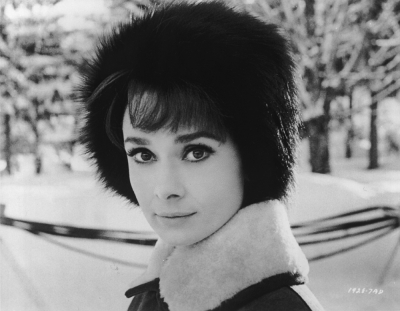 """Audrey Hepburn Wearing a Fur Hat"""