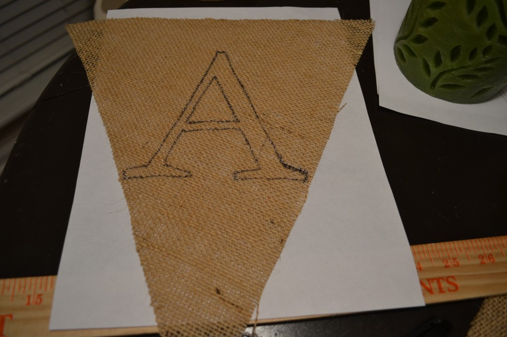 Outline of letter1 1024x682 DIY Burlap Pennant Banner