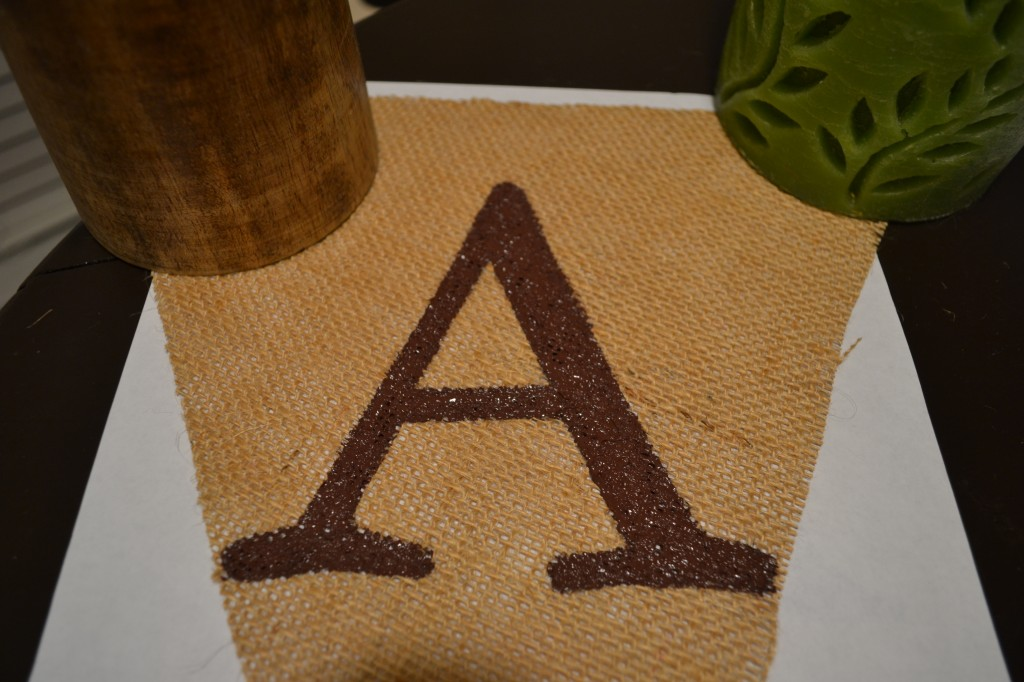 Paint the letter 1024x682 DIY Burlap Pennant Banner