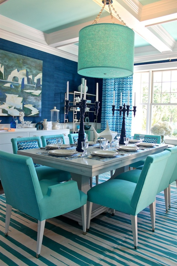 """ultramarine green dining room"""
