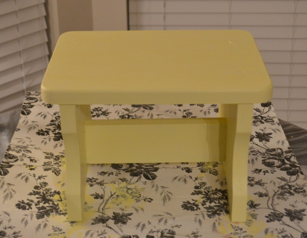 yellow bench 1024x794 Personalized Vintage Step Stool Tutorial