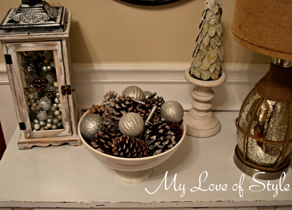 Espsom Salt Pinecone Display 1 1024x738 DIY Frosted Pine Cones