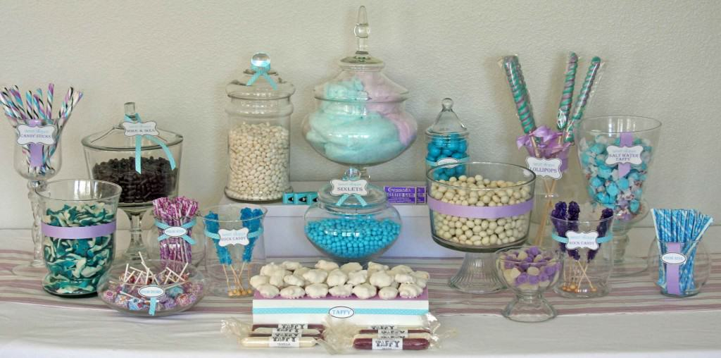 blue purple and white candy buffet 1024x508 How to Create a Candy Buffet