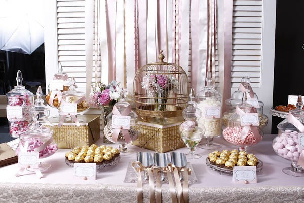 lolly buffet candy jar vintage table wedding How to Create a DIY Candy Buffet