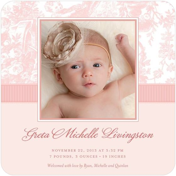"""""""Chenille Lovely Toile Birth Announcements"""""""