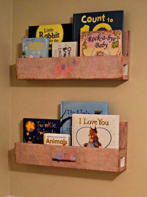 wall mount bookshelves Build and Mod Podge a Wall Mount Bookshelf {DIY Tutorial}