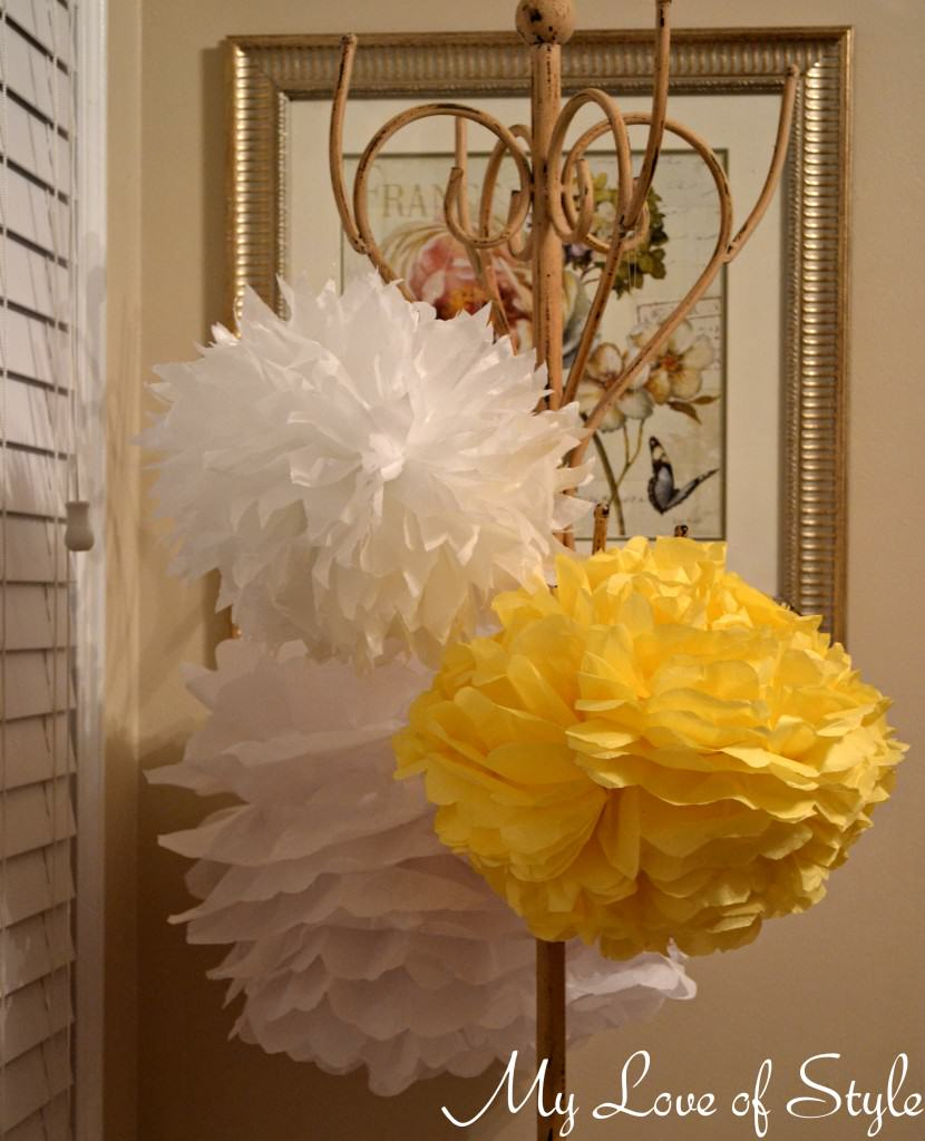 Diy hanging tissue ball tutorial my love of style my for Hanging pom poms from ceiling