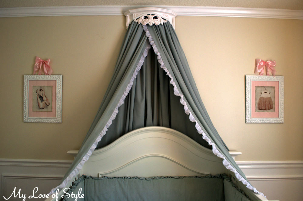 Diy bed crown and crib canopy my love of style my love for How to create a canopy