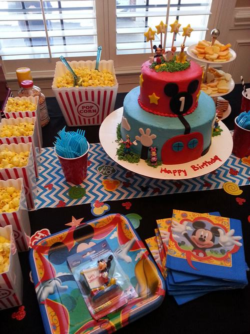 food table 3 Mickey Mouse Themed 1st Birthday Party