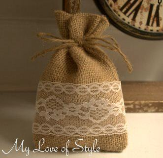 DIY Burlap and Lace Favor Bags My Love of StyleMy Love of Style
