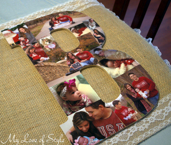 diy wooden letter photo collage my love of style my With wooden letter photo collage